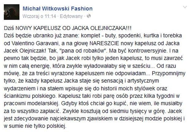 Komentarz Michała Witkowskiego