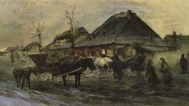 Maksymilian Gierymski 'Zima w małym miasteczku', ok. 1867, akwarela na papierze, 26 x 48,3 cm
