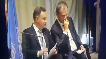 Donald Tusk i Andrzej Duda żartowali podczas posiedzenia Zgromadzenia Ogólnego ONZ