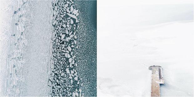Śnieżna pustynia i wielkie kry dryfujące po zatoce. To nie Antarktyda, tylko Półwysep Helski z lotu ptaka