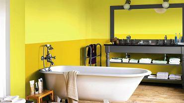 1: Nie bójmy się malowania ścian farbą. To rozwiązanie jest trwałe i można je śmiało stosować przy wannie, a nawet w kabinie prysznicowej (ale uwaga: tynk pod farbą nie może zawierać gipsu).
