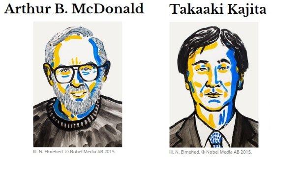 Nagroda Nobla 2015 z fizyki za badania nad neutrinami dla Takaaki Kajity i Arthura B. McDonalda