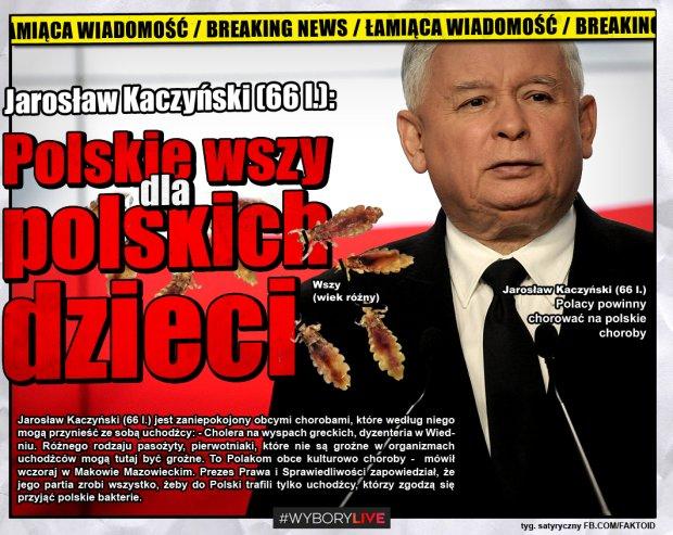 Polskie wszy dla polskich dzieci [Faktoid] - Jarosław Kaczyński (66 l.) jest zaniepokojony obcymi chorobami, które według niego mogą przynieść ze sobą uchodźcy: - Cholera na wyspach greckich, dyzenteria w Wiedniu. Różnego rodzaju pasożyty, pierwotniaki, które nie są groźne w organizmach uchodźców mogą tutaj być groźne. To Polakom obce kulturowo choroby -  mówił wczoraj w Makowie Mazowieckim. Prezes Prawa i Sprawiedliwości zapowiedział, że jego partia zrobi wszystko, żeby do Polski trafili tylko uchodźcy, którzy zgodzą się  przyjąć polskie bakterie.  - Faktoid