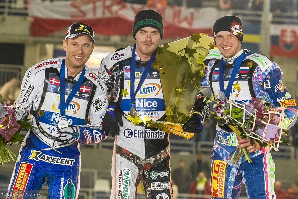 najlepsi w SEC 2013. Od lewej: Nicki Pedersen, Martin Vaculik, Grigorij Łaguta