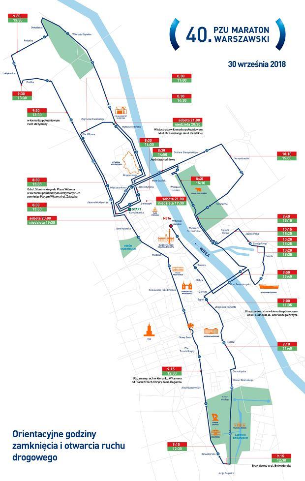 Trasa 40. PZU Maratonu Warszawskigo