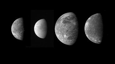 Io, Europa, Ganimedes i Kallisto - księżyce Jowisza. Naukowcy uważają, że na Ganimedesie i Europie jest woda.