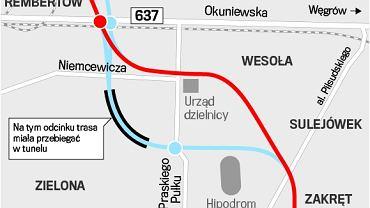 Obwodnica Warszawy. Planowany przebieg trasy przez Wesołą