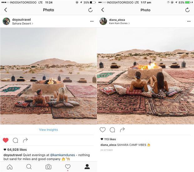 Ktoś jeździł za parą blogerów i robił niemal identyczne zdjęcia
