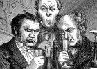 """Trójka snobów wybrzydza nad winem. Rycina nieznanego artysty ze szwedzkiego tygodnika """"Ny Illustrerad Tidning"""" (1896 r.)"""