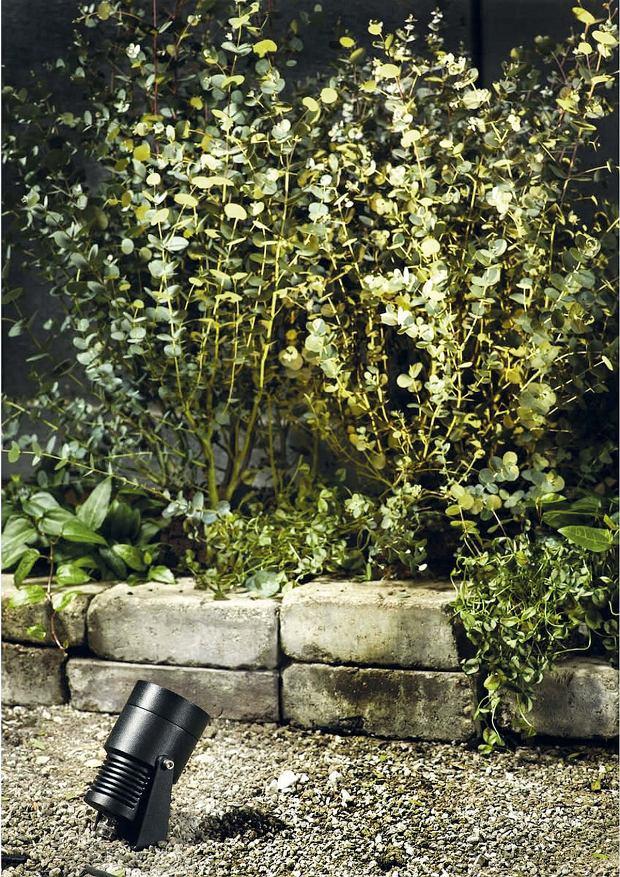 Reflektory mocowane w gruncie mogą oświetlać dowolnie wybrane ogrodowe obiekty