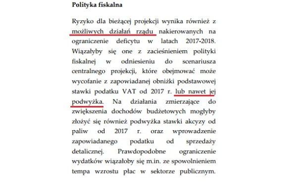 Fragment raportu o inflacji autorstwa NBP, w którym mowa o możliwej podwyżce VAT w 2017