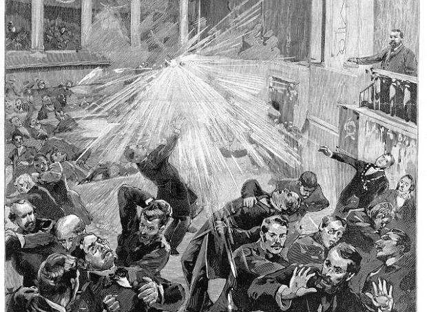 Eksplozja w Zgromadzeniu Narodowym, której sprawcą był Auguste Vaillant - rysunek z tygodnika  'Le Journal Illustré' opublikowany w grudniu 1893 r.