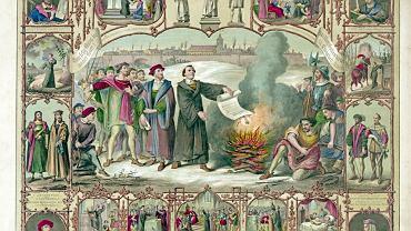 Luter pali bullę papieża Leona X, Wittenberga, 10.12.1520 r. Litografia z II połowy XIX w.