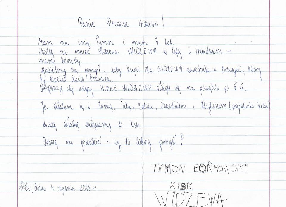 siedmioletni tymek przysłał do widzewa list i 30 zł to na piłkarza