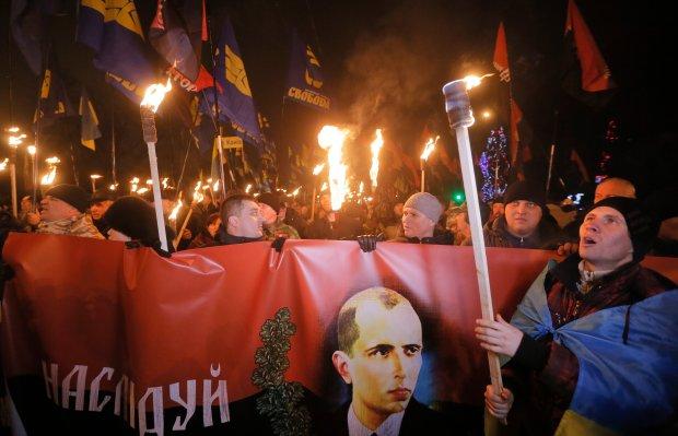 Marsz w Kijowie z okazji 106. rocznicy urodzin Stepana Bandery
