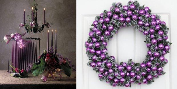 Fioletowe dekoracje świąteczne