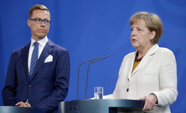 Kanclerz Niemiec Angela Merkel i premier Finlandii Alexander Stubb