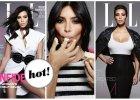 """Kim Kardashian na trzech ok�adkach brytyjskiego """"Elle"""": Zaakceptowanie w�asnego cia�a zaj�o mi wiele czasu. Dorasta�am w �wiecie, gdzie idea�em urody by�a sylwetka supermodelki, a ja takiej nie mam"""
