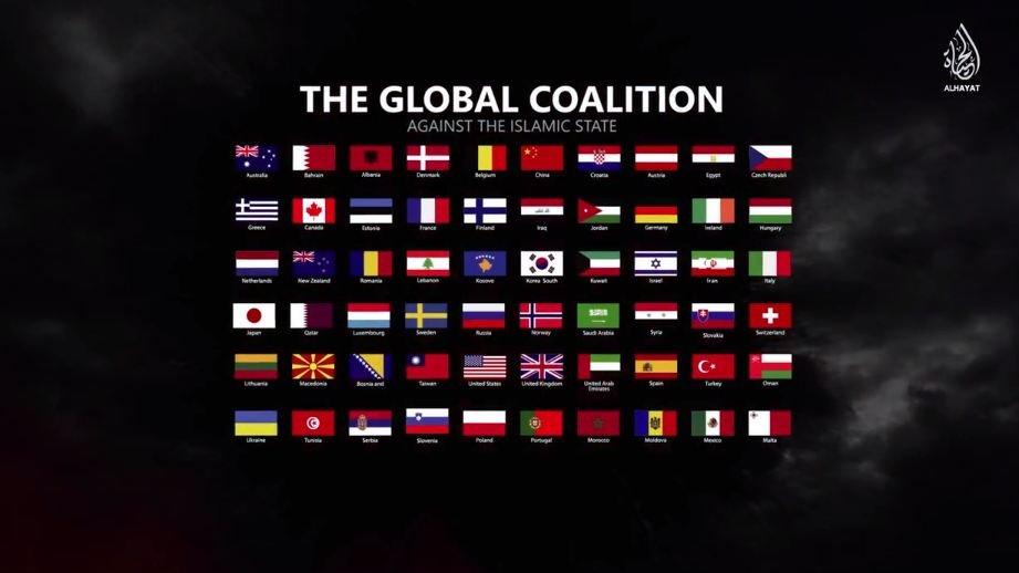 Kadr z nagrania - flagi państw