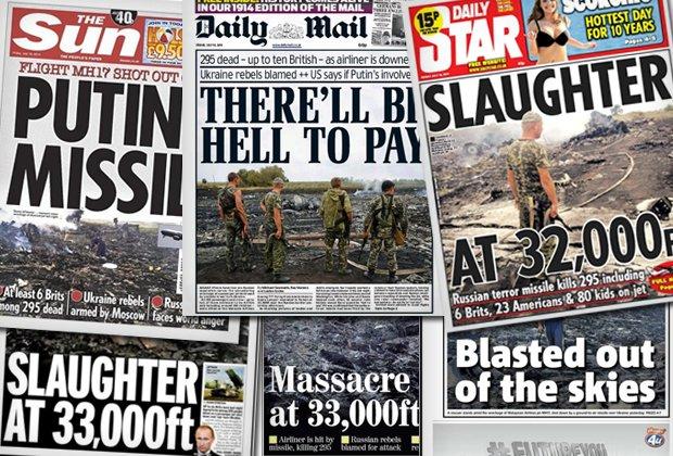 """Brytyjskie tabloidy ostro o katastrofie samolotu: """"Rzeź"""", """"Rakiety Putina"""""""