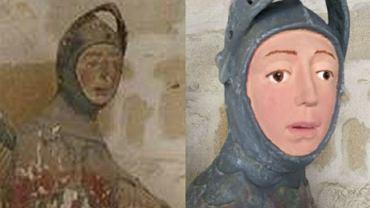 Posąg św. Jerzego w Estelli - przed i po renowacji