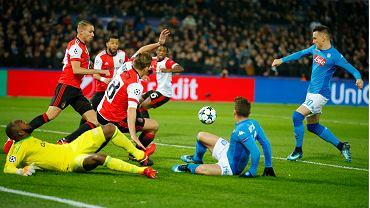 Liga Mistrzów. Feyenoord - Napoli. Piotr Zieliński strzela gola dla gości