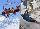 Jedni uciekają, inni próbują na kolanach. Stacja narciarska pokazuje, jak nie wsiadać na wyciąg [WIDEO]