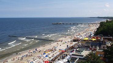 Plaża w Kołobrzegu, widok z latarni morskiej
