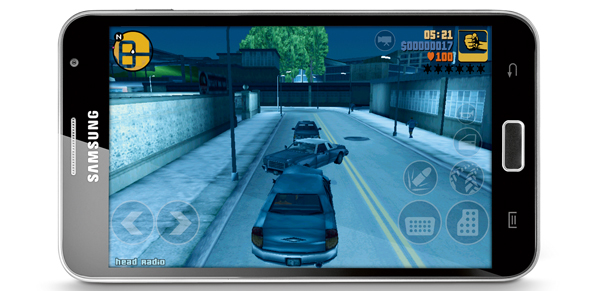 smartfon,gry,android, Grand Theft Auto III  , Samsung, Galaxy Note