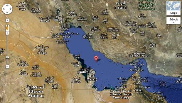 Zatoka Perska na Google Maps