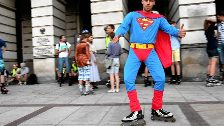 Podczas przejazdu nie zabrakło świetnych przebrań - był m.in. Superman