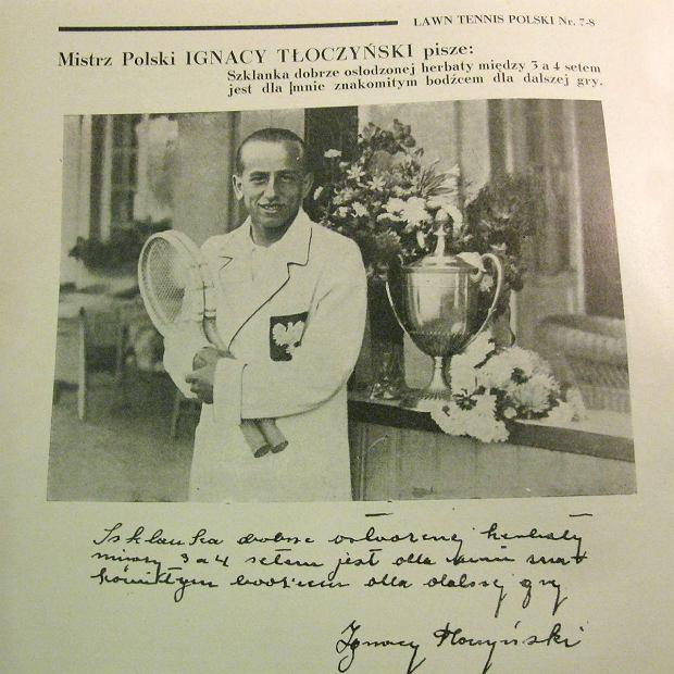 Ignacy Tłoczyński, zdjęcie z czasopisma Lawn Tennis Polski