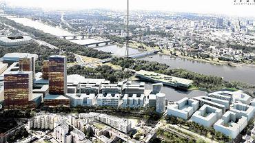 Widok na Port Praski z góry. W prawym dolnym rogu wizualizacji osiedle mieszkaniowe, które miało być realizowane w pierwszej kolejności.