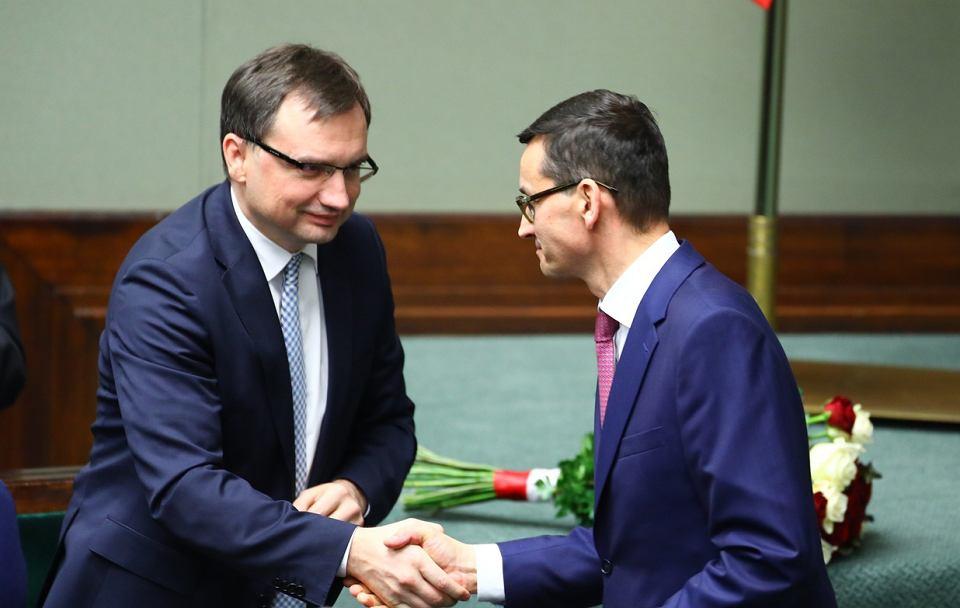 Premier Mateusz Morawiecki i minister sprawiedliwości Zbigniew Ziobro