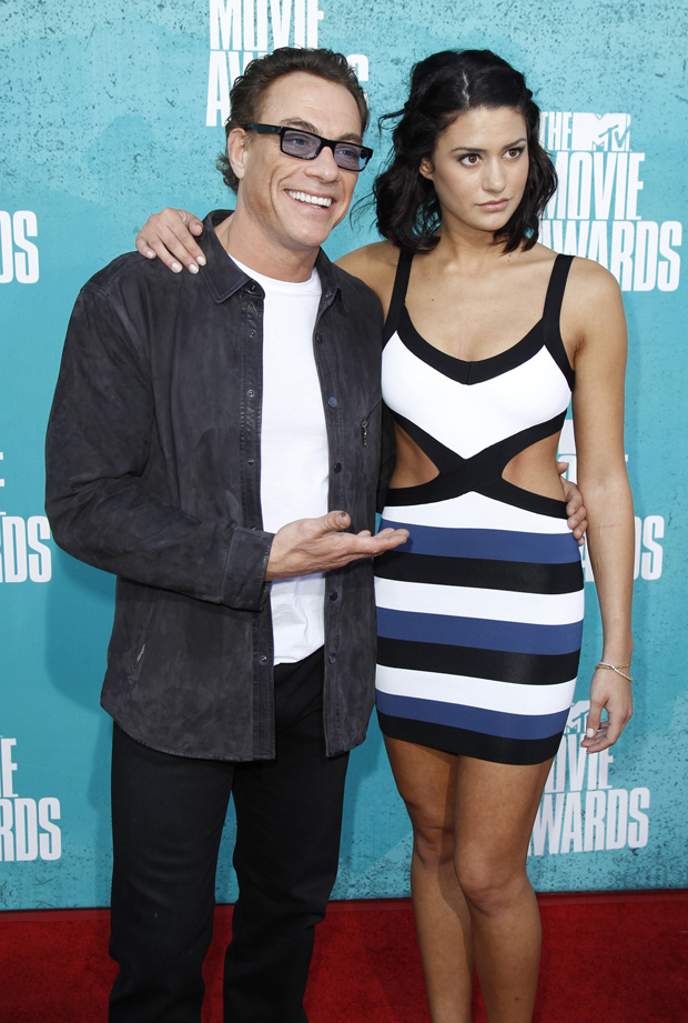 Actor Jean-Claude Van Damme and his daughter Bianca arrive at the 2012 MTV Movie Awards in Los Angeles June 3, 2012.   REUTERS/Danny Moloshok   (UNITED STATES - Tags: ENTERTAINMENT) (MTV-ARRIVALS)