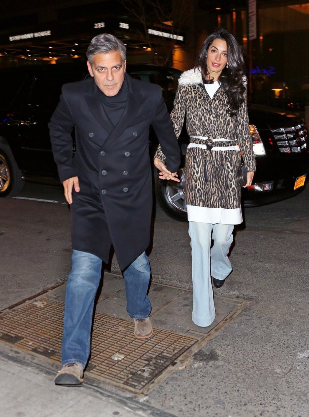 EXCLUSIVE: George Clooney and Amal Clooney have dinner with Georges mom Nina Bruce Warren at Patsys in NYC.  Pictured: George Clooney and Amal Clooney