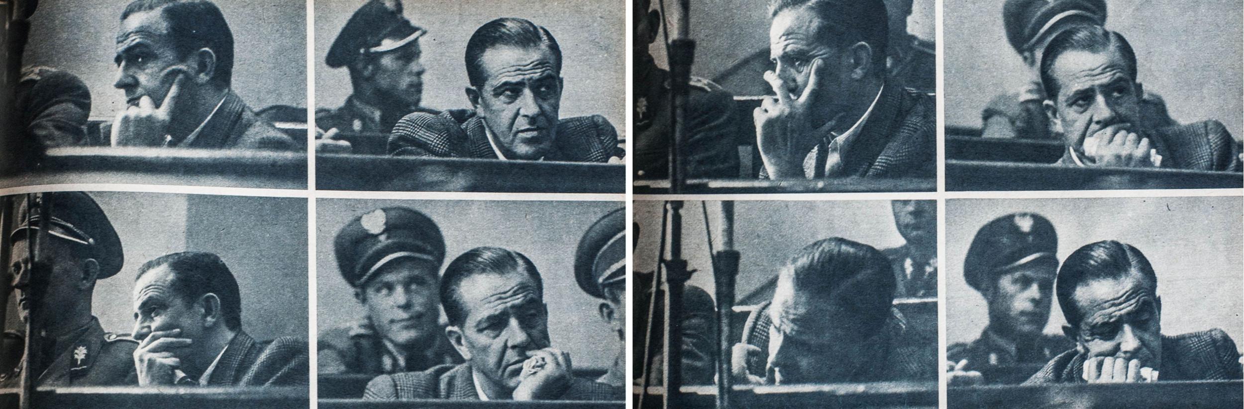 Podczas rozprawy Mazurkiewicz z taką uwagą słuchał o swoich zbrodniach, jakby nigdy wcześniej o nich nie słyszał, zdjęcie prasowe z 1956 roku (fot. zdjęcie archiwalne / Adam Tuchliński)