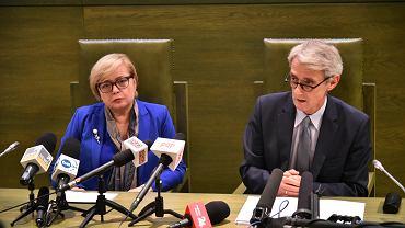 I Prezes Sądu Najwyższego prof. Małgorzata Gersdorf oraz sędzia SN Michał Laskowski podczas konferencji prasowej (fot. Franciszek Mazur/AG)