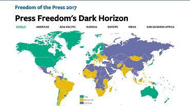 Mapa obrazująca wolność prasy i mediów na świecie według oceny organizacji Freedom House