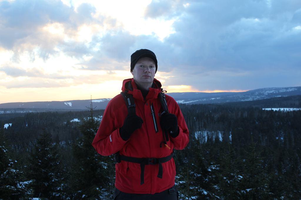 Dawid Jakusiewicz na jednej z zimowych wypraw w Karkonoszach