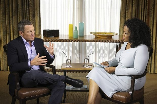 Cyclist Lance Armstrong is interviewed by Oprah Winfrey in Austin, Texas, in this January 14, 2012 handout photo courtesy of Harpo Studios. REUTERS/Harpo Studios, Inc/George Burns/Handout (UNITED STATES - Tags: MEDIA SPORT CYCLING SOCIETY ENTERTAINMENT) FOR EDITORIAL USE ONLY. NOT FOR SALE FOR MARKETING OR ADVERTISING CAMPAIGNS. THIS IMAGE HAS BEEN SUPPLIED BY A THIRD PARTY. IT IS DISTRIBUTED, EXACTLY AS RECEIVED BY REUTERS, AS A SERVICE TO CLIENTS. NO ARCHIVES. NO SALES