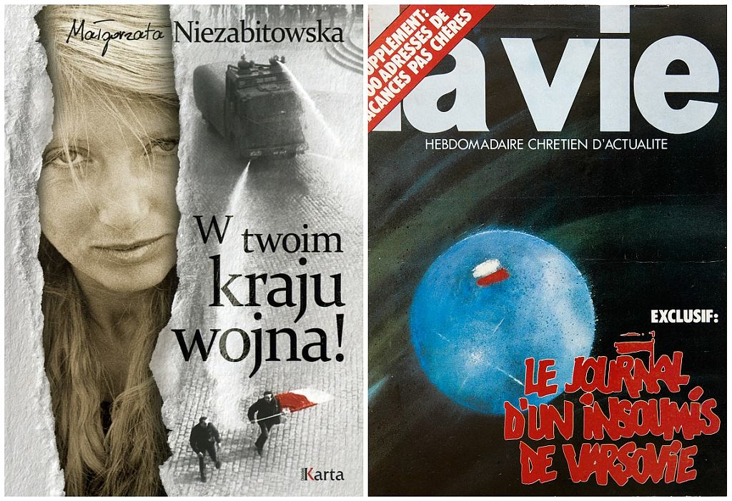 Okładka książki M. Niezabitowskiej i okładka tygodnika