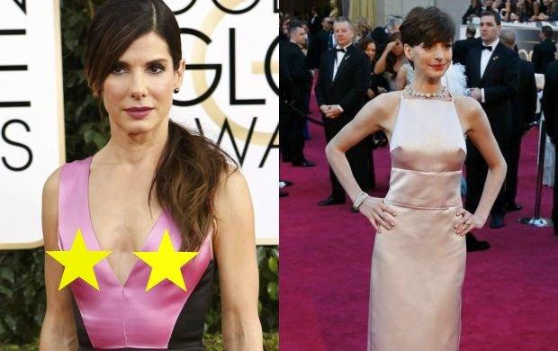 """Pami�tacie t� sukni� Anne Hathaway? Tym razem ofiar� """"nipplegate"""" pad�a Sandra Bullock"""