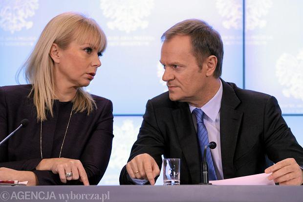 Wicepremier Elżbieta Bieńkowska i premier Donald Tusk ogłaszają strategię rządu na rok 2014, 10 stycznia 2014 r., kancelaria premiera. Nazwisko Bieńkowskiej jako kandydatki Polski na unijnego komisarza politycy zaczęli wymieniać dwa-trzy tygodnie temu