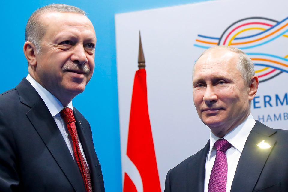 Recep Tayyip Erdogan i Włodzimierz Putin podczas szczytu G-20 w Hamburgu. 8 lipca 2017 r.