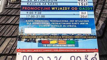 Cennik karnetów w Witowie