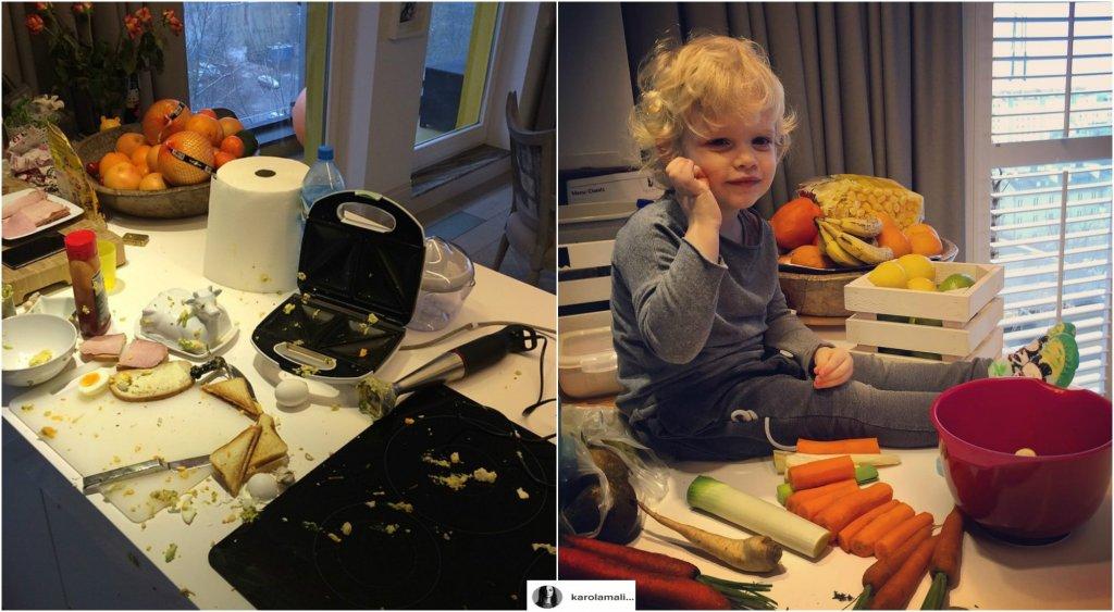 Gdy Karolina Malinowska pokazała na Instagramie zdjęcie mocno ubrudzonej kuchni, winę zrzuciła na męża.