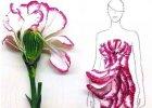 Szal z p�atk�w lilii, sukienka z p�k�w r�y a nawet li�ci sa�aty: zachwycaj�ce ilustracje mody z u�yciem prawdziwych kwiat�w
