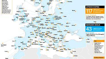 Mapa połączeń lotniczych z Lotniska Chopina i z lotniska w Modlinie