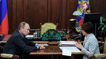 Szefowa rosyjskiego banku centralnego Elvira Nabiullina na spotkaniu z prezydentem Rosji Władimirem Putinem